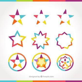 Set of star shapes colorful