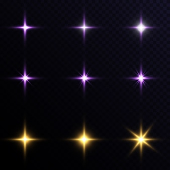 Набор звездных световых эффектов на прозрачном фоне.