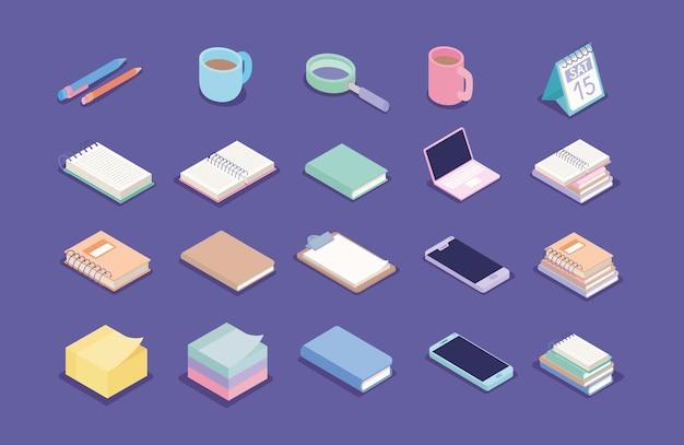 Набор канцелярских товаров и электронных гаджетов