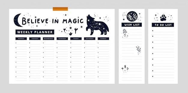 文房具のデジタルプリントのセット。ウィークリープランナー、ウィッシュリスト、オオカミ、月、植物のリスト Premiumベクター