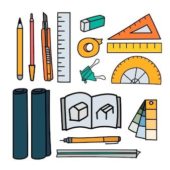 Set of stationery doodle style