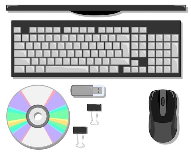 컴퓨터와 테이블에 편지지 세트입니다.