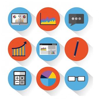 Набор инструментов статистики данных финансовых диаграмм и графических диаграмм бизнеса