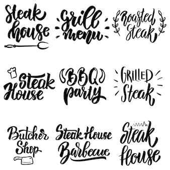 ステーキハウス、グリルメニュー、バーベキューパーティーのレタリングのセット。ポスター、カード、バナー、メニューのデザイン要素。