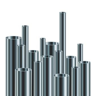 鋼管またはアルミニウム管のセット。図。異なる直径の光沢のあるチューブ。