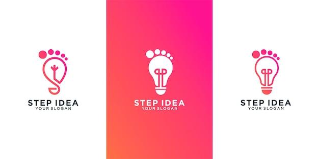 단계 아이디어, 콤비네이션 램프 및 발 디지털 로고 템플릿 디자인 세트 premium vector