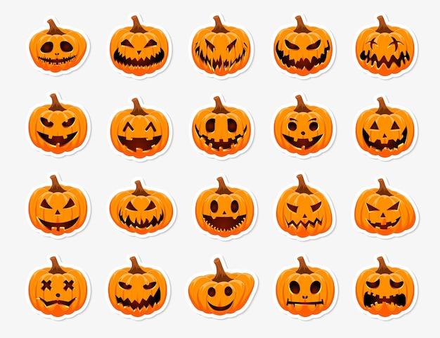 Набор наклеек хэллоуин тыква. главный символ праздника happy halloween. этикетка тыквы с улыбкой для вашего дизайна.