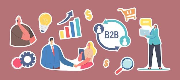 ステッカーb2b、企業間パートナーシップコラボレーションのセット。握手、電球、拡大鏡または成長するグラフの実業家および実業家のキャラクター。漫画の人々のベクトル図