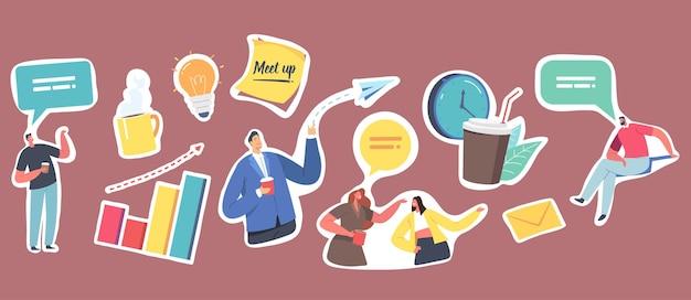 ステッカービジネスミートアップのセット。企業従業員のキャラクター、紙飛行機と電球、コーヒーカップ、吹き出しと縦棒グラフ、メッセージ付き封筒。漫画の人々のベクトル図