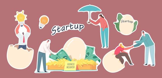 Набор наклеек тема бизнес-стартап-инкубатора, персонажи бизнесменов с яйцами, лампочка идеи и птичье гнездо с долларовыми банкнотами. запускаем project grow. мультфильм люди векторные иллюстрации