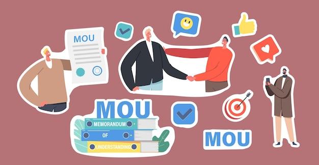 Набор наклеек бизнесменов персонажей с документами меморандума о взаимопонимании, стопка меморандума о взаимопонимании, документация, описывающая общие контуры соглашения, рукопожатие. мультфильм люди векторные иллюстрации