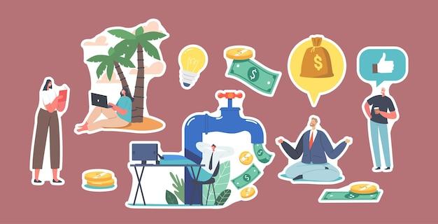 Набор символов наклейки на огромный кран с денежным потоком. фрилансер под palm, инвестирование в фондовый рынок, онлайн-монетизация. медитация миллионера, пассивный доход. мультфильм люди векторные иллюстрации