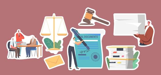 法律文書に署名するステッカー文字のセット、公証人の専門サービスの概念を取得します。人々は、巨大なペンサインの文書を持った小さな秘書である弁護士事務所を訪れます。漫画のベクトル図