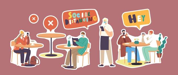 コロナウイルスの発生後のカフェやレストランでのステッカーキャラクターの社会的距離とニューノーマルのセット。マスクのウェイターが注文とメニューを持ってきて、人々がチャットします。漫画のベクトル図