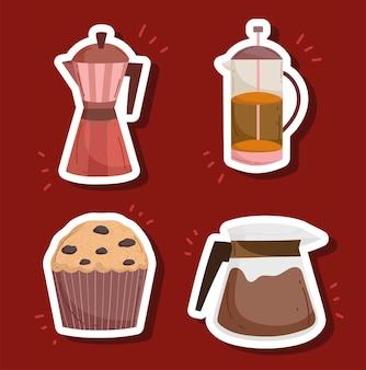 스티커 커피 세트