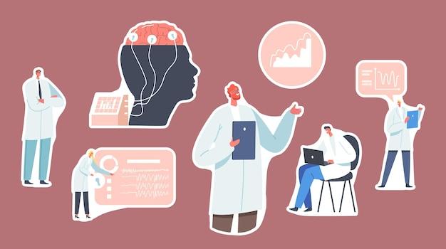 스티커 의사 신경과 의사, 신경과학자, 의사, 뇌는 eeg 표시로 디스플레이에 연결되어 있습니다. 신경학