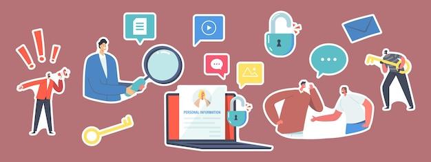 스티커 doxing, 인터넷 괴롭힘, 민감한 데이터 게시 세트. 캐릭터는 개인 데이터, 거대한 키를 가진 해커, 자물쇠, 정보가 있는 노트북에 대해 토론합니다. 만화 사람들 벡터 일러스트 레이 션