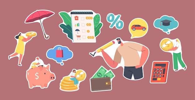 Набор наклеек концепции планирования семейного бюджета. люди зарабатывают и откладывают деньги на покупки, крошечные женские персонажи собирают монеты в огромную копилку. капитал, богатство. векторные иллюстрации шаржа