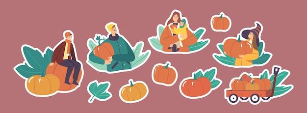カボチャを選ぶステッカー家族キャラクターのセット。秋の休日のハロウィーンや感謝祭のお祝いのために熟した植物を収穫する母、父と子供たち。漫画の人々のベクトル図