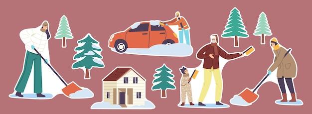 Набор наклеек семейные родители и дети, убирающие снег, дворик дома с сугробами, люди с лопатами и щетками, уборка дороги и автомобиля после снегопада зимой. векторные иллюстрации шаржа