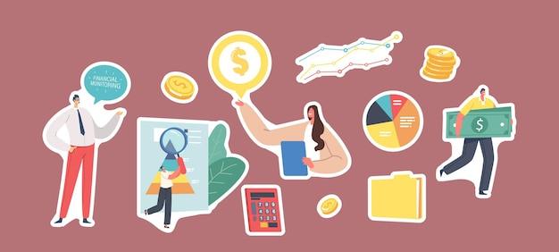 ステッカーのセット財務監視テーマ。ダッシュボード上のデータを分析するビジネスキャラクター。金融投資、ドキュメントフォルダ、お金、計算機、円グラフ。漫画の人々のベクトル図