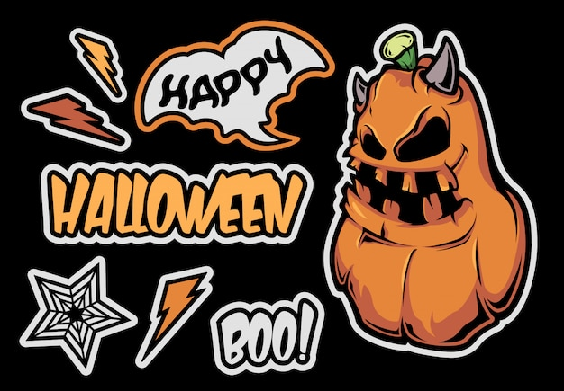 Набор наклеек для хэллоуина. дизайн персонажа.