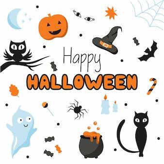 Набор наклеек к празднику 31 октября. сова, призрак, черный кот и паук. надпись вручную счастливого хэллоуина.