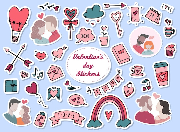 Набор наклеек на день святого валентина