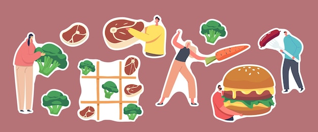 스티커 건강 및 건강에 해로운 식사, 채식 및 육류 음식 테마의 집합입니다. 틱택토 게임, 당근과 소시지로 펜싱하는 캐릭터, 버거, 스테이크, 브로콜리. 만화 사람들 벡터 일러스트 레이 션