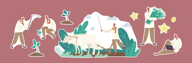 ステッカーのセットインドの農民のキャラクターが動作します。牛とくわによる畑を耕し、収穫を植えて収集する田舎の男。農業労働者はラップトップまたはデバイスを使用します。漫画の人々のベクトル図