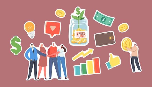 Набор наклеек паевой инвестиционный фонд. персонажи офисных коллег берутся за руки, крошечный бизнесмен с золотой монетой, стеклянная банка с зеленым ростком, лампочка, доллар, финансовая помощь. мультфильм люди векторные иллюстрации