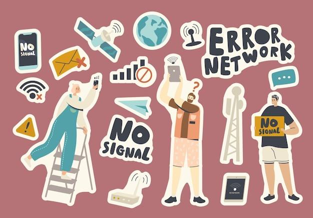 Набор наклеек без темы сигнала wi-fi. люди с гаджетами, сетевой ошибкой, знаком потери соединения wi-fi, земным шаром и спутником и смартфоном с уведомлением, маршрутизатором. векторные иллюстрации шаржа