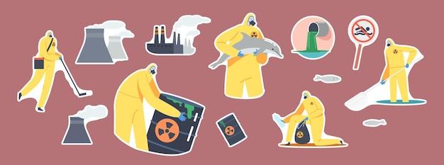 ステッカーのセット海洋油汚染、生態学的災害。工場のパイプ、防護服のキャラクター、ガスマスクで海の汚染されたビーチ、有毒なバレルを掃除します。漫画の人々のベクトル図