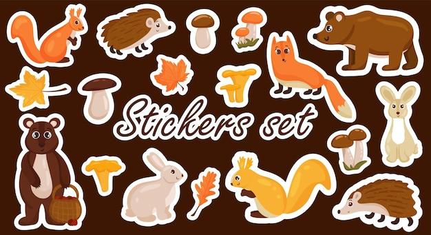 가을 요소, 동물, 버섯, 밝고 화려한 단풍의 스티커 세트. 벡터 만화 스타일입니다. 흰색 배경에 고립.