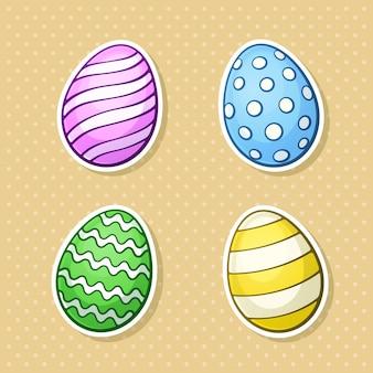 컨투어 벡터 일러스트와 함께 만화 스타일의 부활절 달걀 스티커 스티커 세트