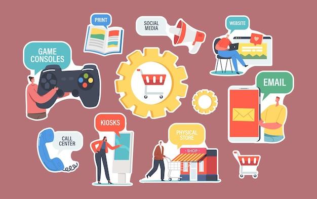 스티커 옴니채널 테마 세트입니다. 판매자와 고객 간의 여러 커뮤니케이션 채널. 디지털 마케팅, 온라인 쇼핑. 이메일, 소셜 미디어, 콜센터, 인쇄. 만화 벡터 일러스트 레이 션