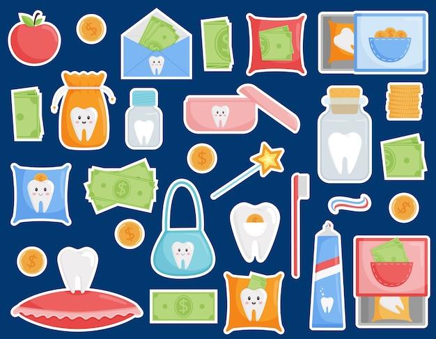 Набор наклеек на тему выпадения зубов