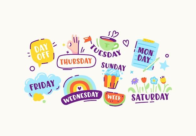 Набор наклеек или значков дней недели воскресенье, понедельник, вторник и среда, четверг и пятница или суббота, выходной день красочные элементы дизайна в линейном стиле каракули. векторные иллюстрации шаржа