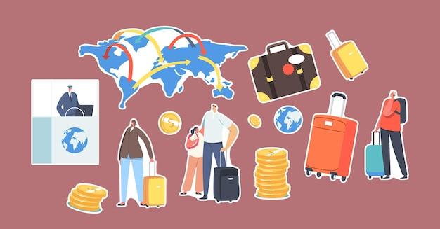 Набор наклеек работник паспортного контроля на столе, туристы с багажом, карта мира, чемодан и золотые монеты. персонажи мира иммиграции, концепция легальной миграции. мультфильм люди векторные иллюстрации