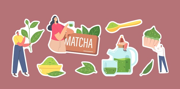 말차를 마시는 스티커 사람들의 집합입니다. 건강 음료와 빵집을 요리하기 위해 녹차 잎과 분말을 사용하는 남성과 여성 캐릭터, 남성과 여성은 차를 마십니다. 만화 벡터 일러스트 레이 션 프리미엄 벡터