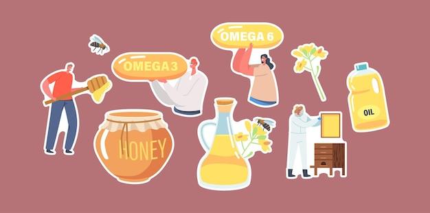 ステッカー菜種油と蜂蜜の生産テーマのセット。オメガカプセル、ガラスの水差し、天然有機製品の瓶、養蜂家、花のキャラクター。漫画の人々のベクトル図