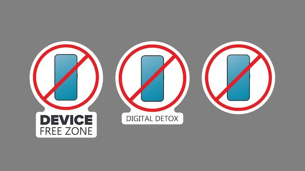 스티커 세트입니다. 취소선 전화 아이콘입니다. 금지 장치, 자유 구역 장치, 디지털 해독의 개념. 스티커를 위해 비어 있습니다. 외딴. 벡터.