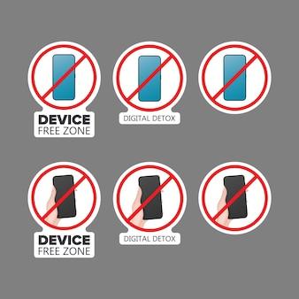 스티커 세트입니다. 취소선 전화 아이콘입니다. 금지 장치, 자유 구역 장치, 디지털 해독의 개념. 스티커용으로 비어 있습니다. 외딴. 벡터.