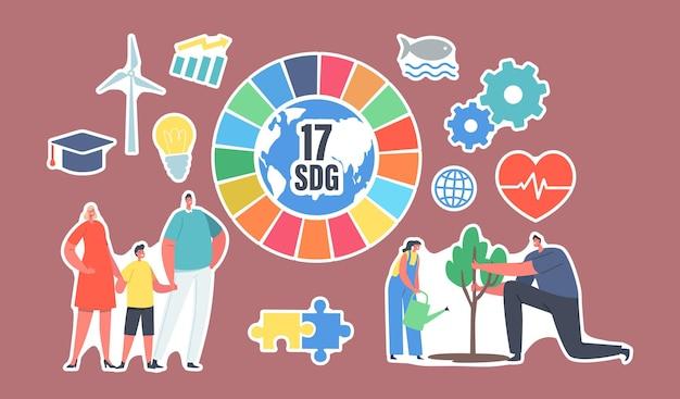 Набор наклеек целей устойчивого развития. люди используют зеленую энергию, спасают планету, выращивают растения. мужские и женские персонажи 17 sdg красочное радужное колесо, ветряная мельница. векторные иллюстрации шаржа