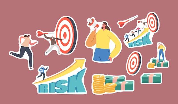 스티커 작은 비즈니스 캐릭터 세트는 거대한 목표물에 다트를 던집니다. 회사원 경력 향상, 위험 증가 위험이 높은 시작 프로젝트. 기업인은 목표를 달성합니다. 만화 사람들 벡터 일러스트 레이 션