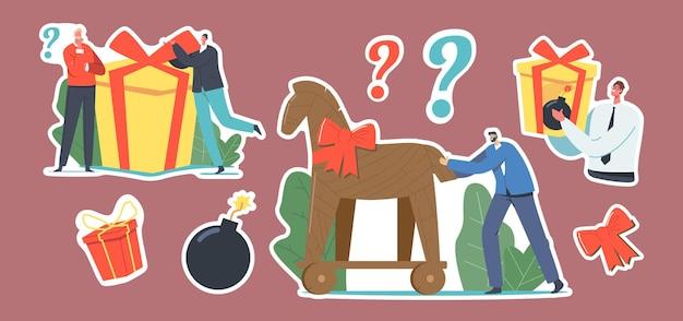 Набор наклеек троянский конь, деловой человек персонаж держит подарок с горящей бомбой внутри. подарок, праздничный лук и вопросительный знак. корпоративный шпионаж, подлость. мультфильм люди векторные иллюстрации