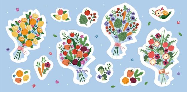 植物の花束とステッカーのセット
