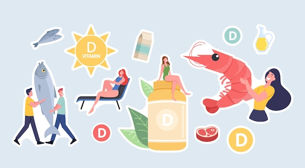 Набор наклеек с персонажами, представляющими источники витамина d из морепродуктов, органических натуральных продуктов и солнечных ванн. пищевые добавки для здоровья. мультфильм люди векторные иллюстрации