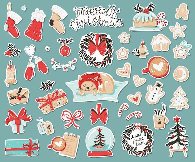 크리스마스 항목 스티커 세트입니다.