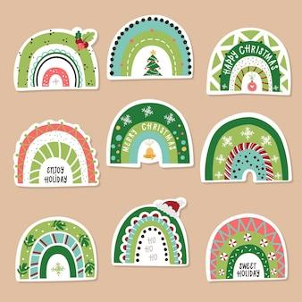 クリスマスの虹のステッカーのセットです。グリーティングカード、クリスマスの招待状、スクラップブッキングのベクトル図